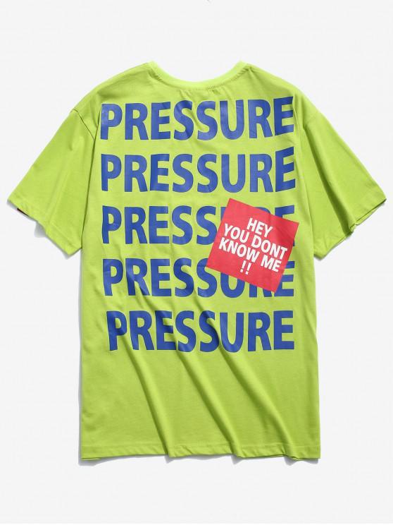 Camiseta impresa letras casuales - Té Verde XL