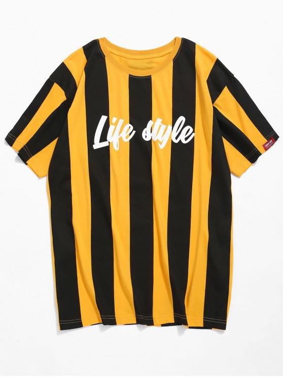 outfits Vertical Stripe Letter Print T-shirt - YELLOW M
