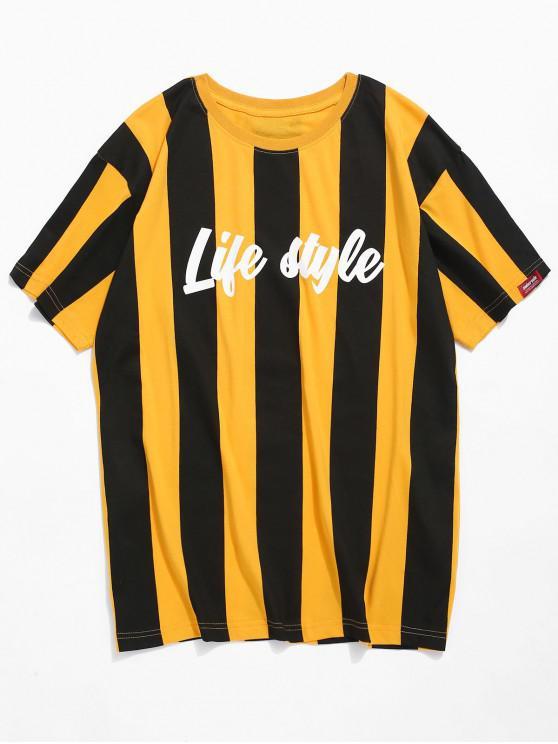 T-shirt de impressão de carta de riscas verticais - Amarelo 2XL