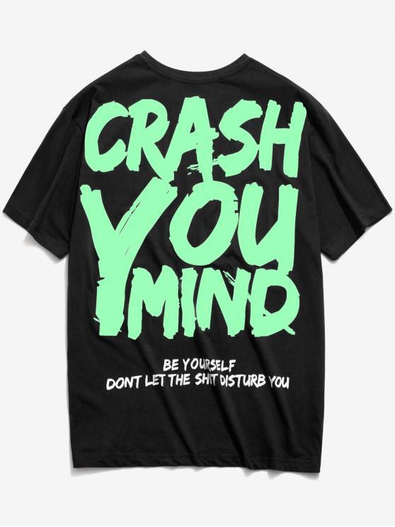 Camiseta con estampado de letras de graffiti - Negro 2XL