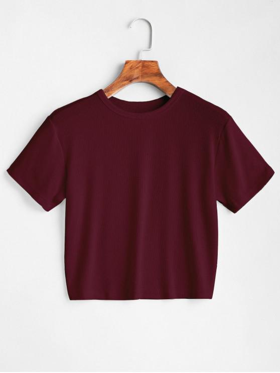 trendy ZAFUL Plain Cropped Tee - RED WINE S