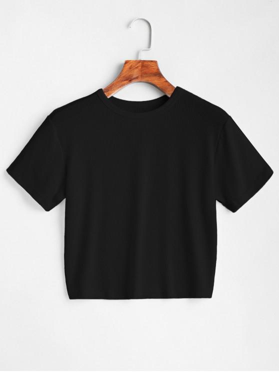 outfits ZAFUL Plain Cropped Tee - BLACK L