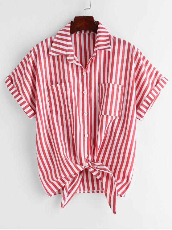 online Pockets Striped Knotted Shirt - RED S