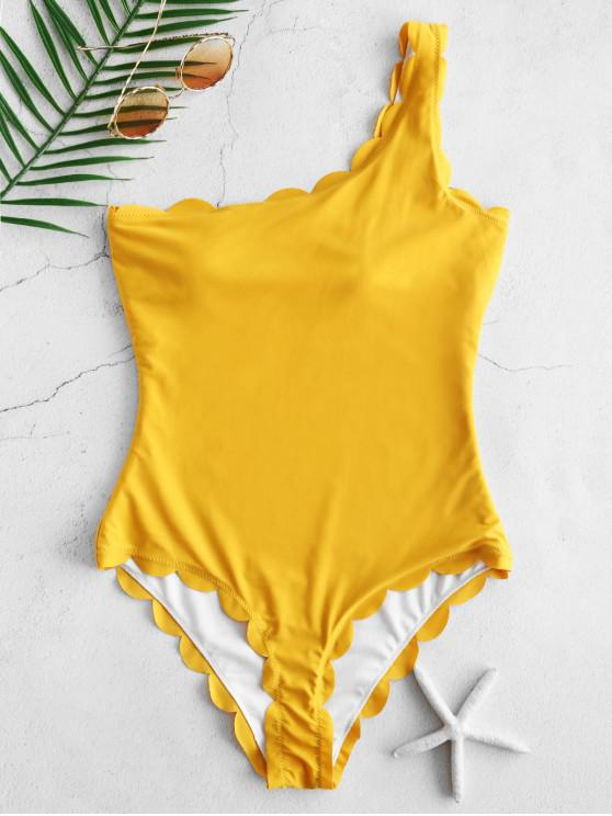 affordable ZAFUL Scalloped One Shoulder One-piece Swimsuit - BRIGHT YELLOW M