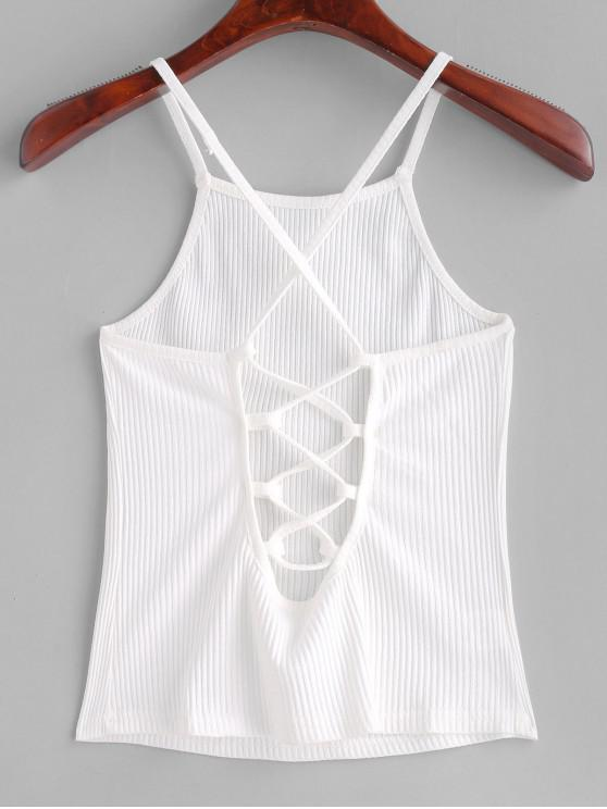 fancy Criss Cross Crop Cami Top - WHITE M