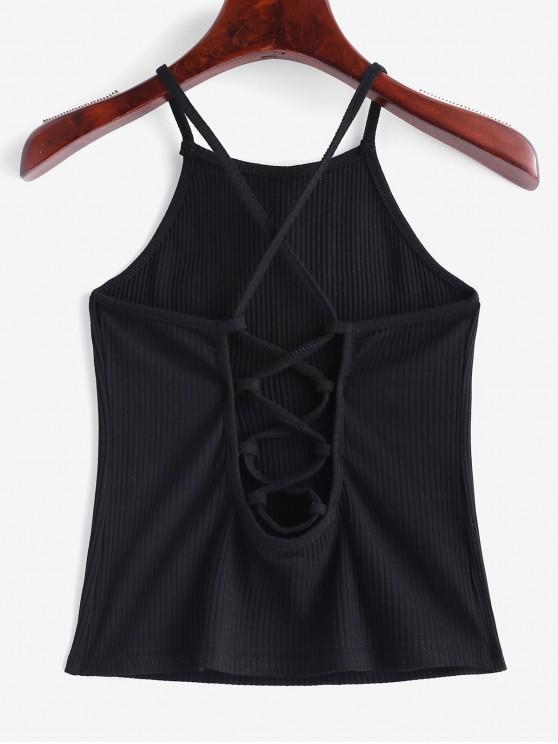 sale Criss Cross Crop Cami Top - BLACK XL