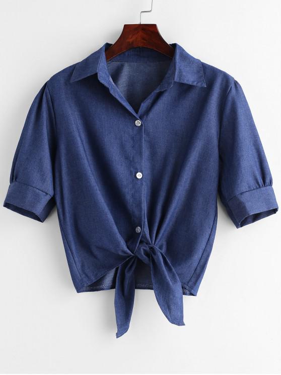 fashion Button Up Knotted Hem Shirt - DENIM BLUE XL