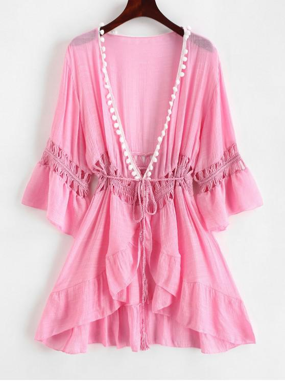 unique Pom-pom Crochet Panel Beach Dress - PIG PINK ONE SIZE