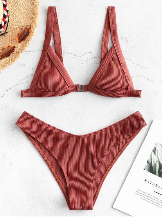Bikini a Costine con Chiusura Anteriore di ZAFUL - Seppia S