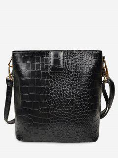 Retro Faux Leather Patterned Square Shoulder Bag - Negro