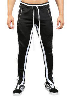 Contrast Stripe Hem Zipper Track Pants - Black L