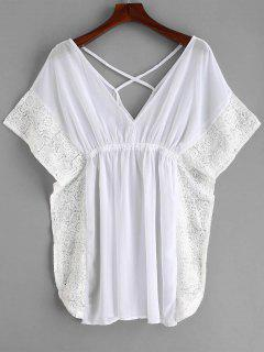 Lace Trim Crisscross Kaftan Dress - White M