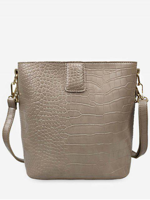 unique Retro Faux Leather Patterned Square Shoulder Bag - KHAKI  Mobile