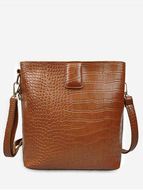 sale Retro Faux Leather Patterned Square Shoulder Bag - BROWN  Mobile
