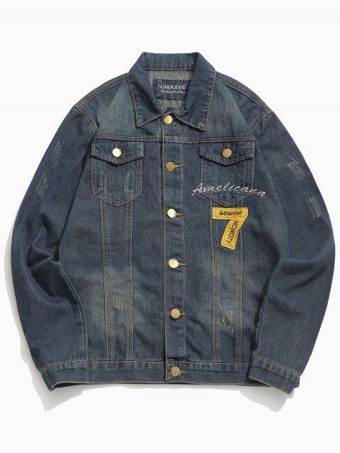 shop Button Fly Number Pattern Denim Jacket - DENIM DARK BLUE XS Mobile