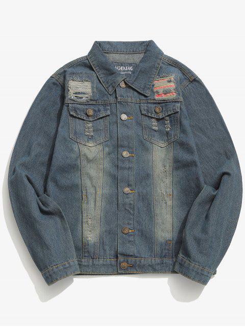 latest Button Fly Ripped Design Denim Jacket - DENIM DARK BLUE XS Mobile