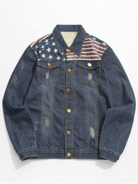 chic Distressed Stars and Striped Pattern Denim Jacket - DENIM DARK BLUE S Mobile