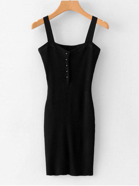 trendy Half Button Plain Ribbed Dress - BLACK ONE SIZE Mobile