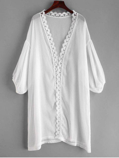 sale Laced Sheer Kimono - WHITE ONE SIZE Mobile
