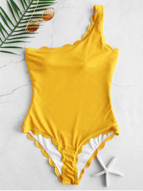 ZAFUL Traje de Baño de una Pieza Festoneado de un Hombro - Amarillo Brillante M Mobile
