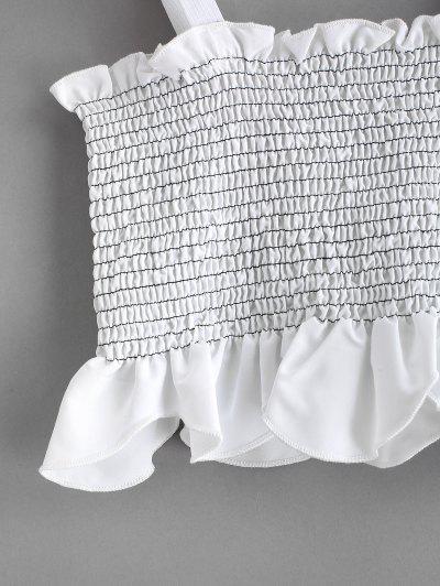 ZAFUL Letter Straps Smocked Crop Tank Top, White