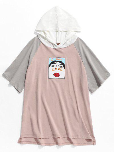 b78870345409 Funny Graphic Colorblock Short Sleeve Hooded Tee - Pink - Pink L