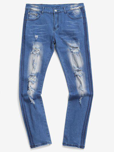 Distressed Bleach Design Jeans