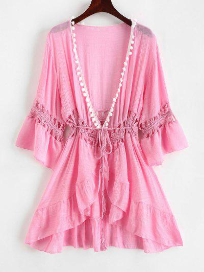 Pom-pom Crochet Panel Beach Dress - Pig Pink