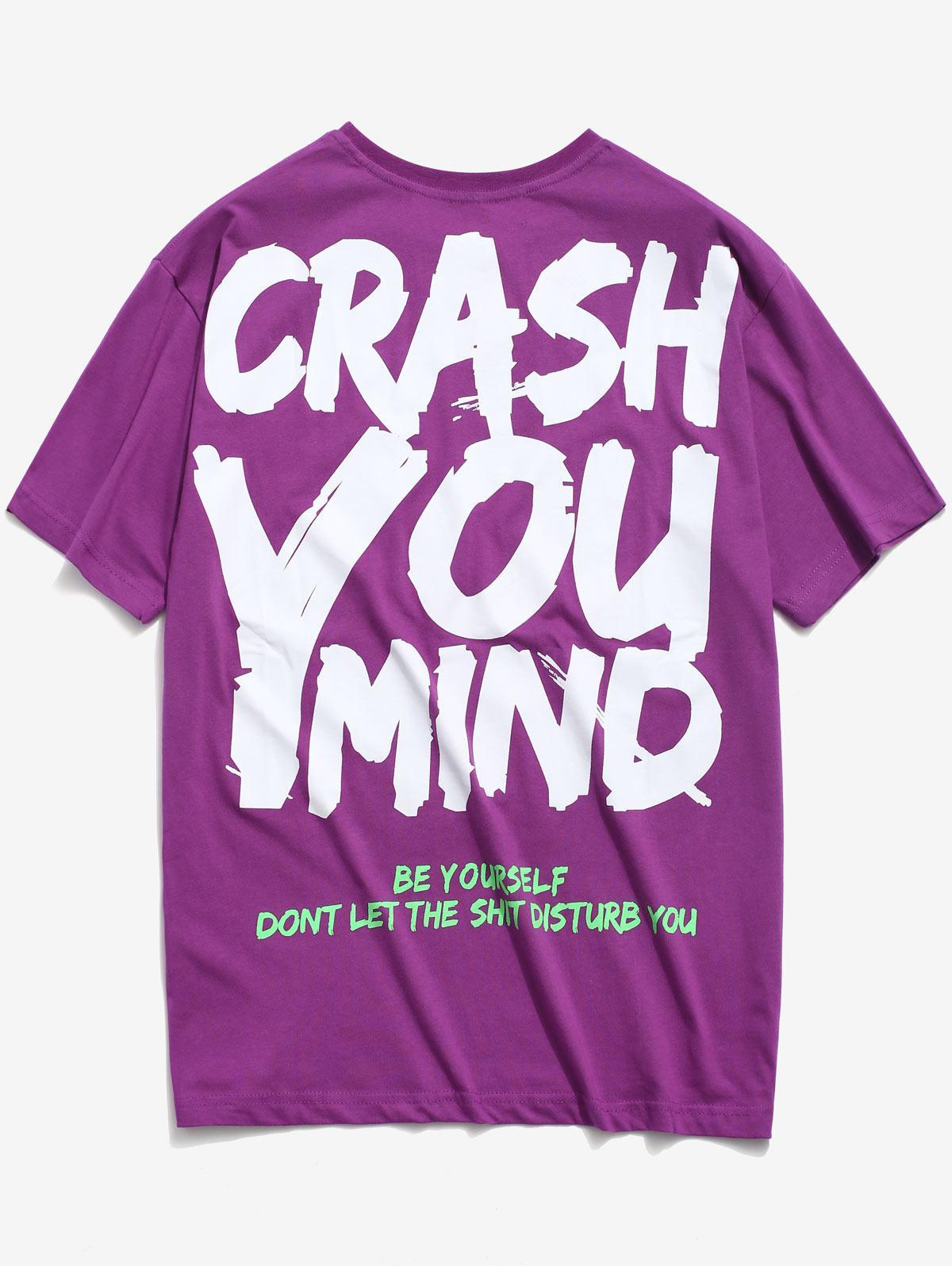 Graffiti Letter Print T-shirt, Purple