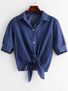 قميص بأكمام طويلة - ازرق S