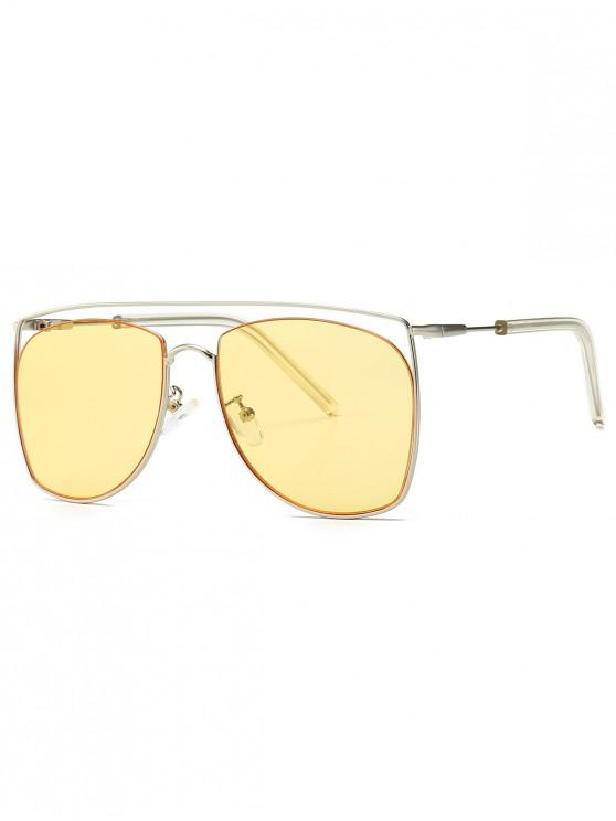 best Square Metal Frame Sunglasses - YELLOW