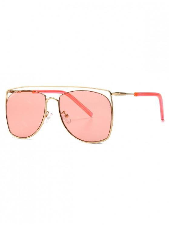 outfit Square Metal Frame Sunglasses - PINK