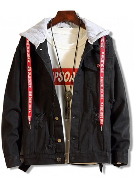 sale Contrast Hood Distressed Denim Jacket - BLACK S