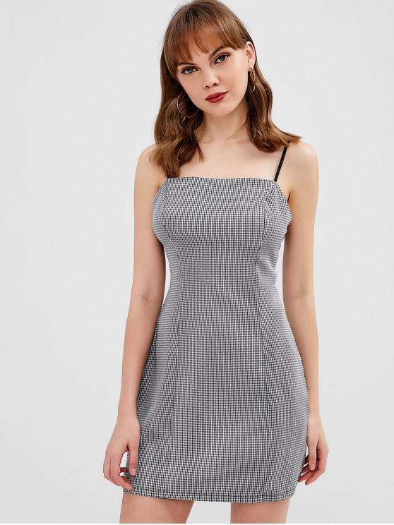 trendy ZAFUL Back Zipper Gingham Cami Dress - BLACK L
