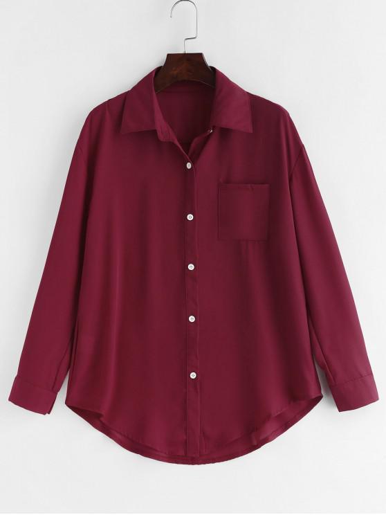 trendy Chest Pocket Chiffon Shirt - RED WINE S