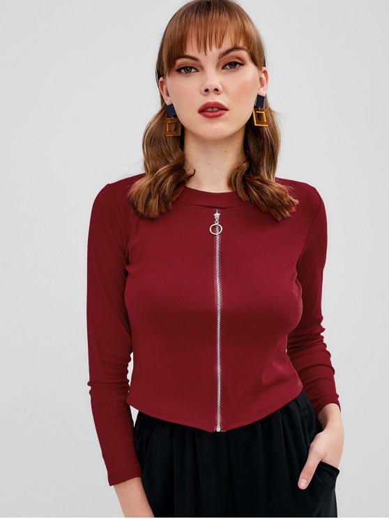 outfit Long Sleeve Zip Up Top - RED WINE ONE SIZE