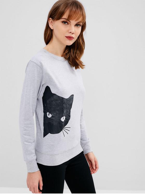 Sweat-shirt Doux à Motif Chaton - Gris Clair S