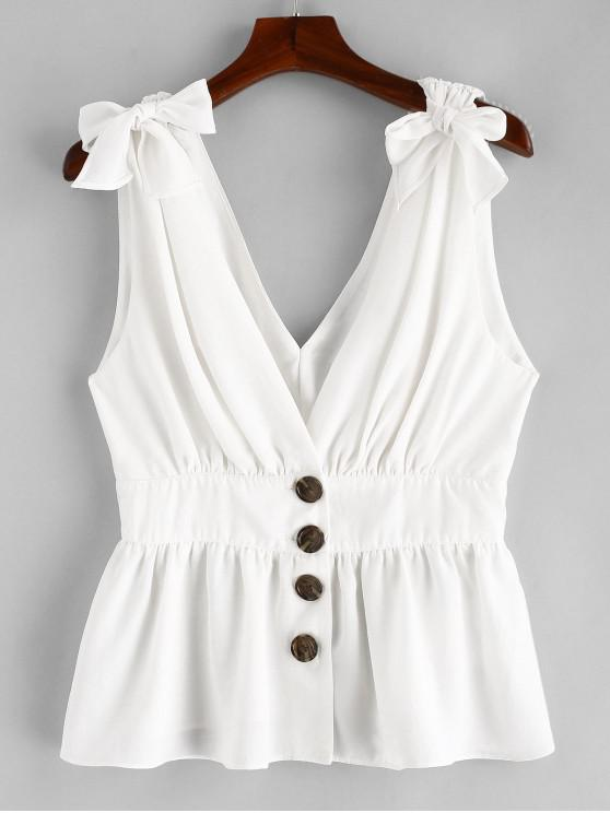 chic ZAFUL Knotted Button Up Tank Top - WHITE L