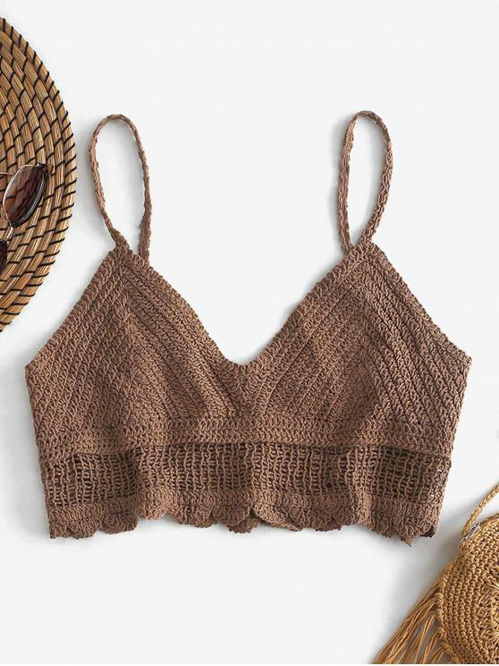 fashion Scalloped Crochet Camisole - CAMEL BROWN ONE SIZE