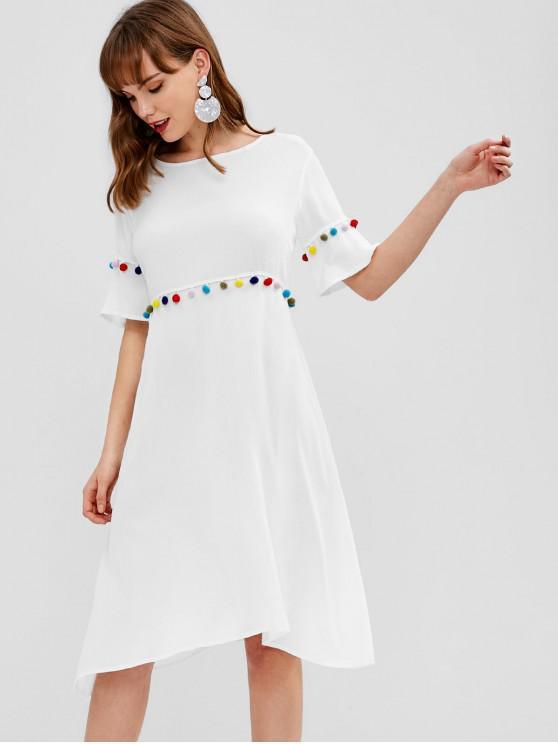 e9150eb646b6 26% OFF] 2019 Pompoms A Line Casual Dress In WHITE   ZAFUL