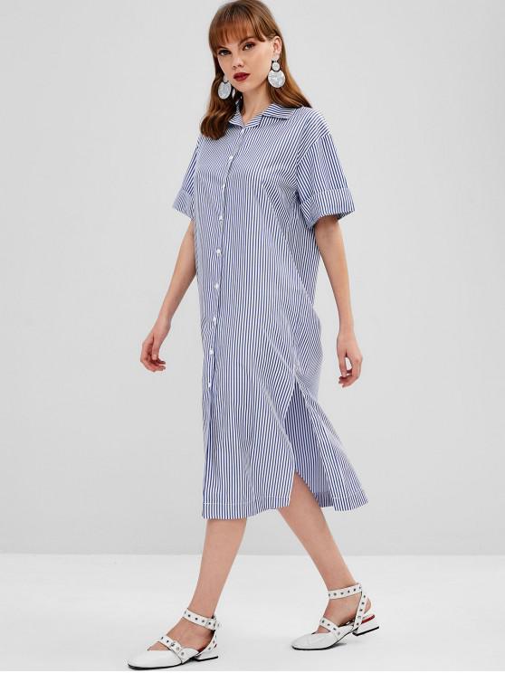 new Button Up Midi Striped Shirt Dress - BABY BLUE XL