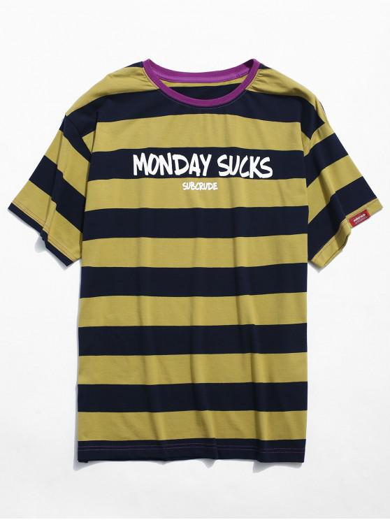 chic Contrast Striped Letter Print T-shirt - YELLOW 2XL