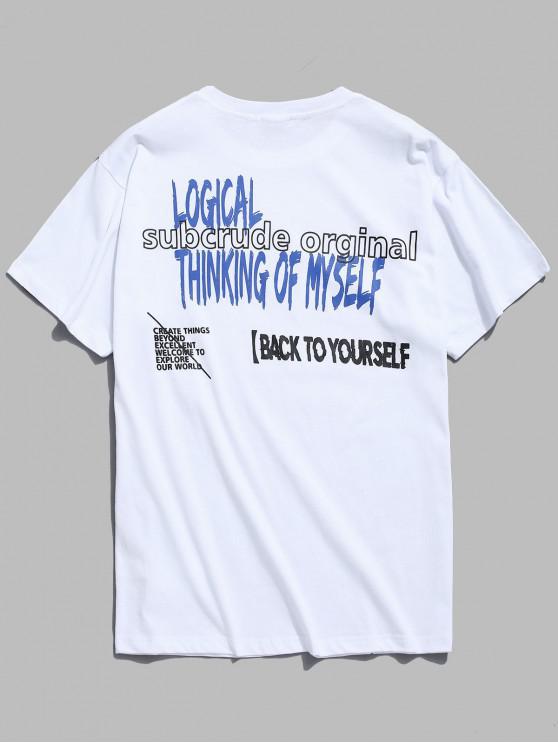 Camiseta con estampado de letras frescas - Blanco S