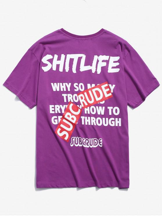 Camiseta Estampada Contraste - Púrpura M