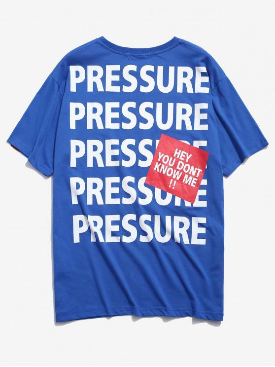 T-shirt stampata lettere casuali - Blu L
