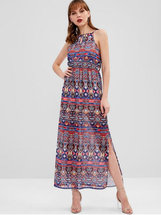 lady Keyhole Printed Maxi Dress - MULTI M
