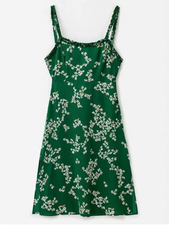 best Frilled Strap Floral Print A Line Dress - PINE GREEN M