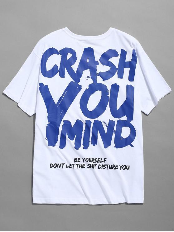 Graffiti-Buchstabe-Druck-T-Shirt - Weiß M