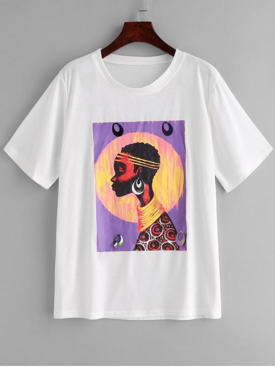 Tee-shirt graphique à paillettes - Blanc Lait S