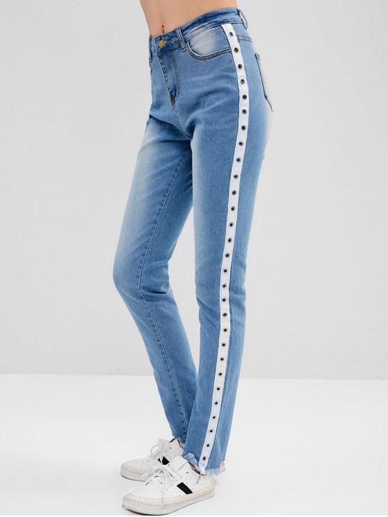 trendy Grommet Frayed Skinny Jeans - JEANS BLUE L